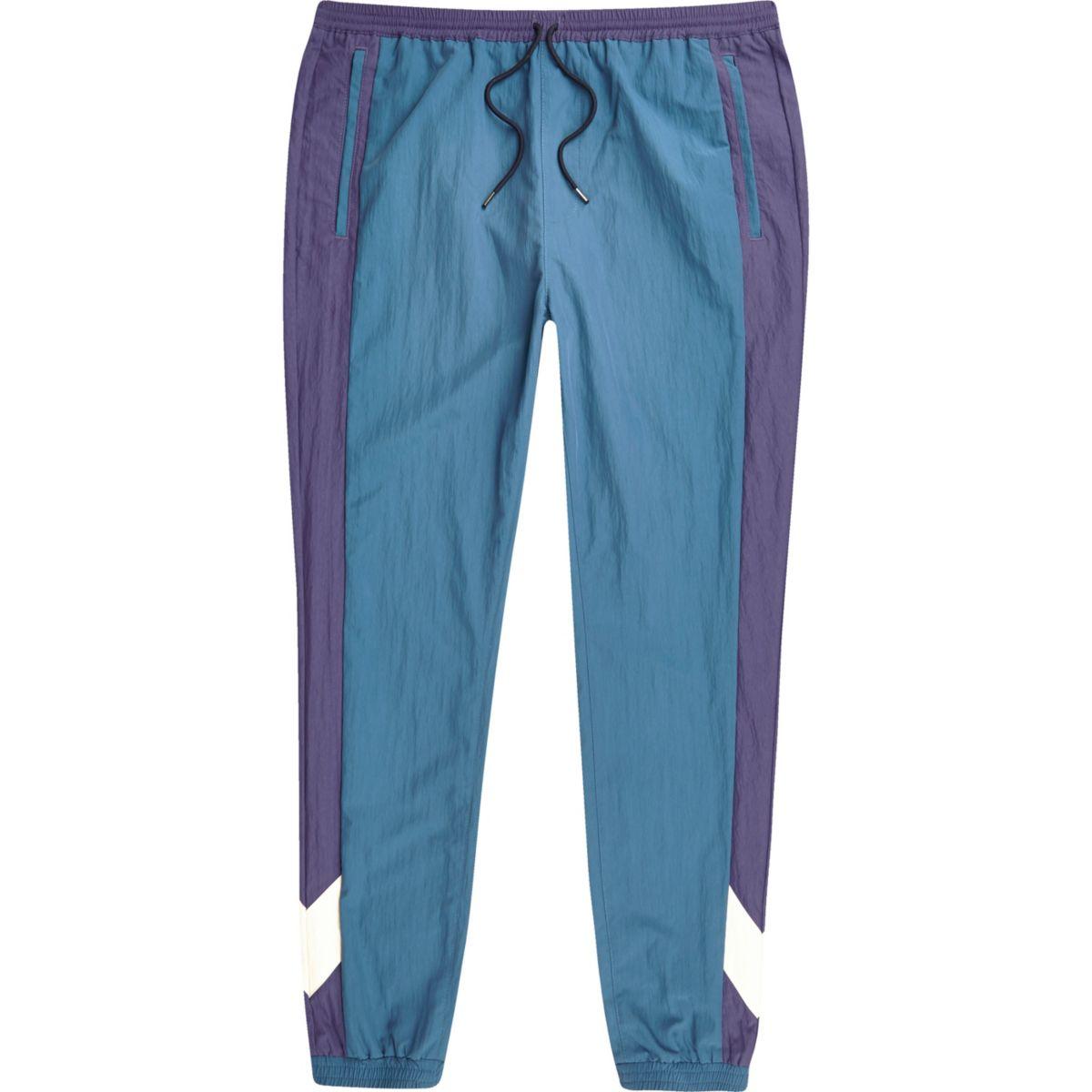 Blauwe joggingbroek met kleurvlakken