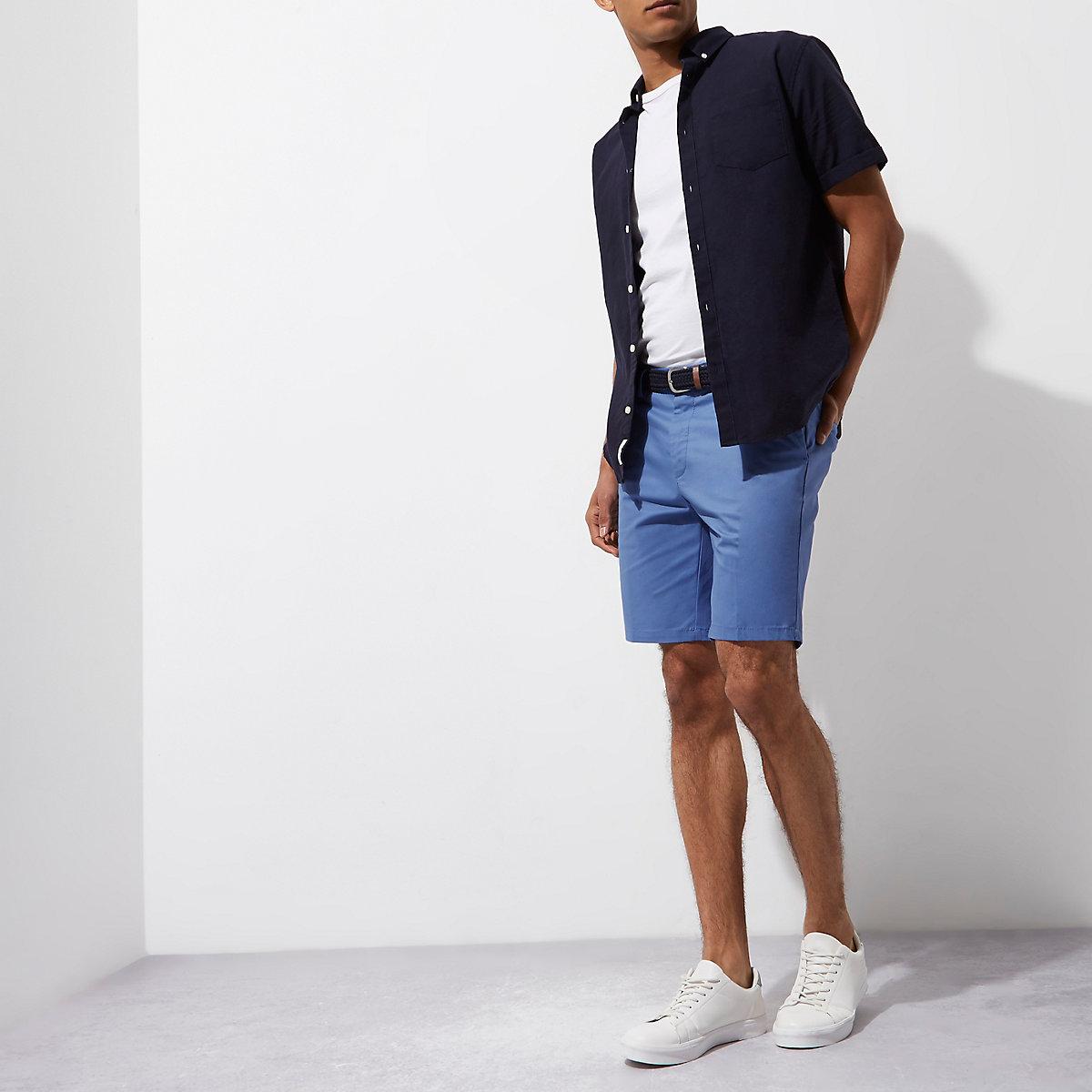 Blue belted shorts