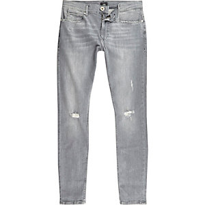 Grey ripped Ollie super skinny spray on jeans