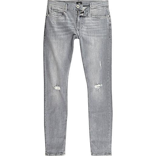 Grey ripped Ollie super skinny spray on jeans