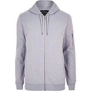 Grey zip front hoodie
