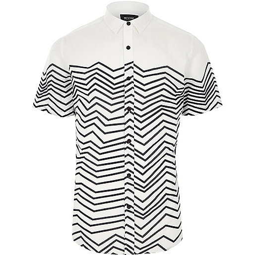 White Only & Sons stripe short sleeve shirt