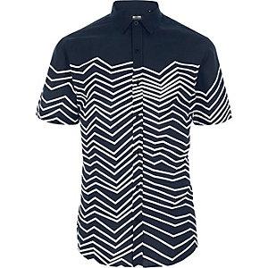 Only & Sons - Blauw overhemd met zigzag-print en korte mouwen