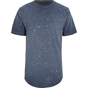 Only & Sons – T-shirt rayé gris à ourlet arrondi