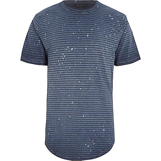 Grey Only & Sons stripe curved hem T-shirt