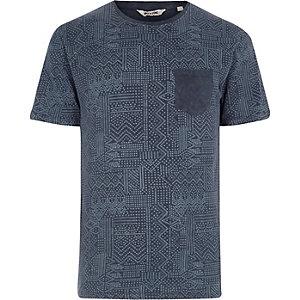 Only & Sons - Blauw washed T-shirt met geoprint en zakje