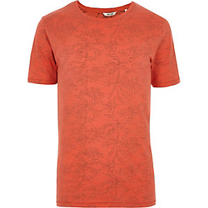 Orange Only & Sons palm print T-shirt