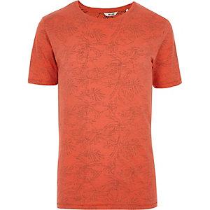 Orange Only & Sons palm print T-shirt