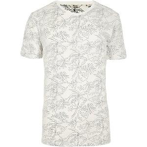 Only & Sons – T-shirt à imprimé palmiers blanc