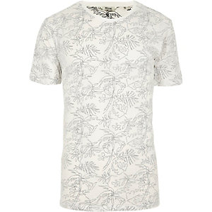 Only & Sons - Wit T-shirt met palmboomprint