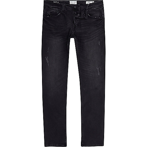 Dark grey Only & Sons distressed jeans