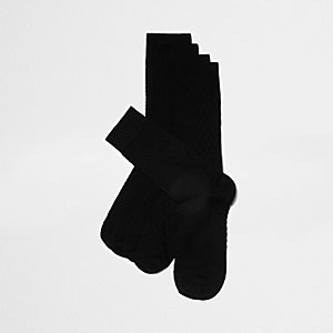 Black textured socks multipack