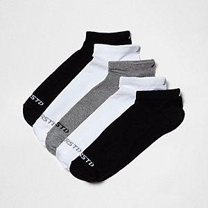 Lot de cinq paires de chaussettes noires à imprimé contrastant