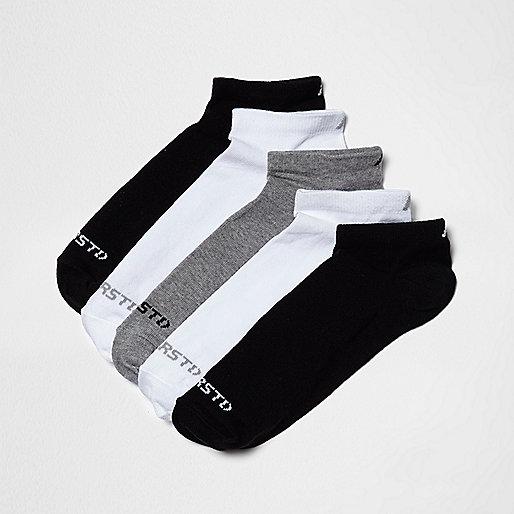 Black mixed contrast print socks five pack
