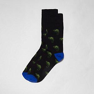 Chaussettes motif caméléon noires