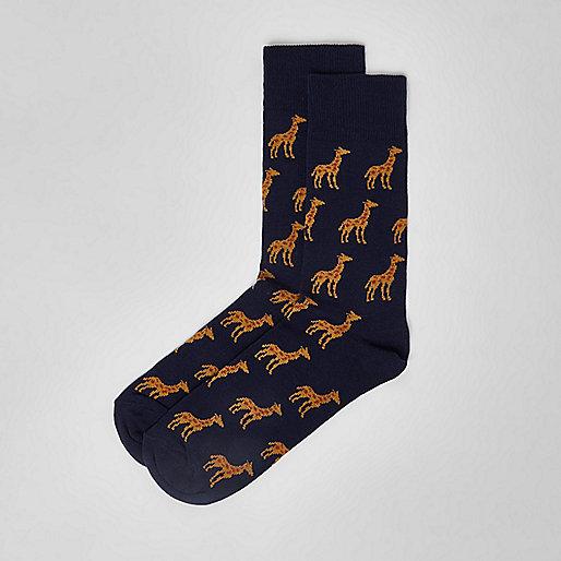 Navy giraffe print socks