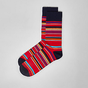 Red stripe print socks
