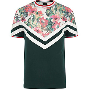 Green floral print color block T-shirt