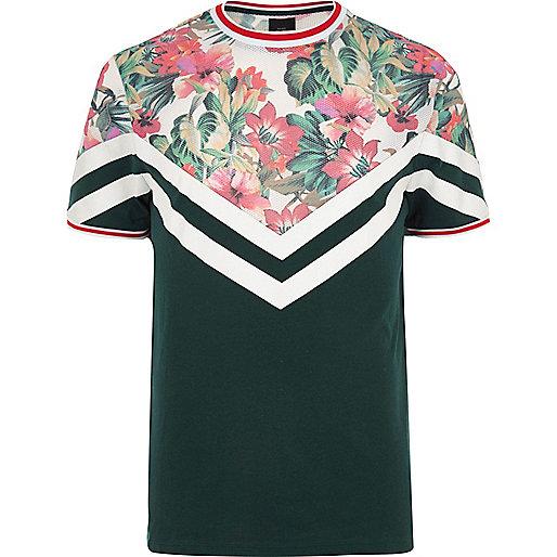 Green floral print color block T-shirt