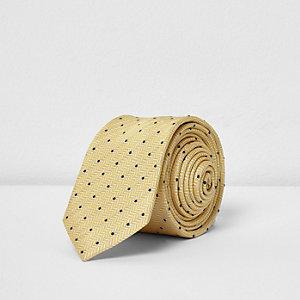 Gele stropdas met stippenprint