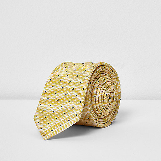 Yellow polka dot print tie