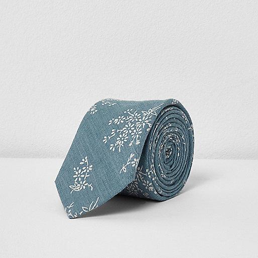 Green sage floral print tie
