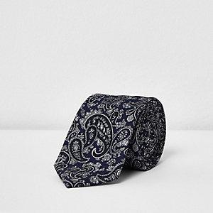 Navy paisley print tie