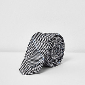 Grey diamond print tie