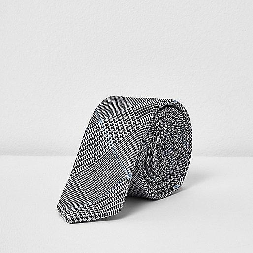 Grey diamond print tie