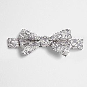 Grey metallic floral bow ite