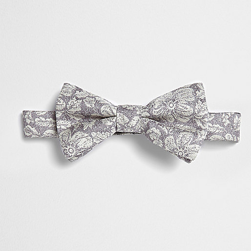 Grey metallic floral bow ite