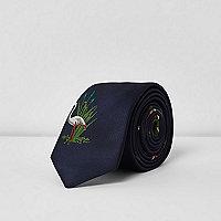 Cravate imprimé flamants roses bleue
