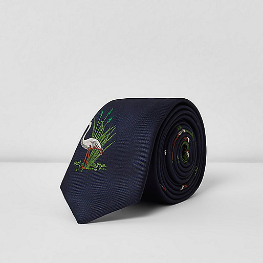 Blue flamingo print tie