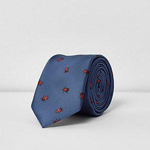 Blauwe stropdas met insectenprint