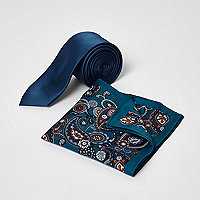 Blue paisley tie and pocket square set