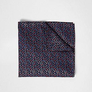 Pochette imprimé géométrique bleu marine