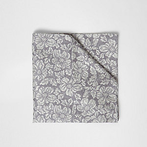 Grey floral print pocket square