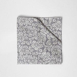 Mouchoir de poche gris à fleurs