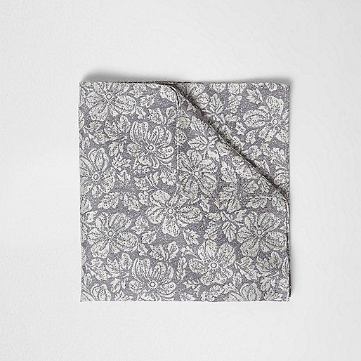 Grey floral print pocket square