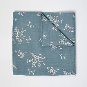 Green sage print pocket square