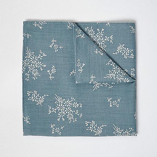 Green sage print pocket square