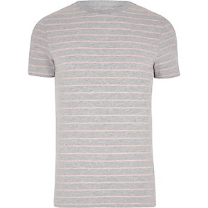 Grey marl stripe print muscle fit T-shirt