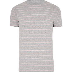 T-shirt ajusté rayé gris chiné