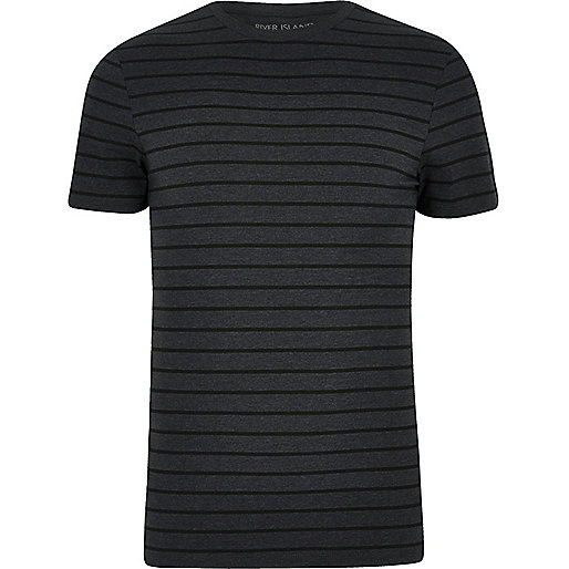 Dark grey stripe print muscle fit T-shirt