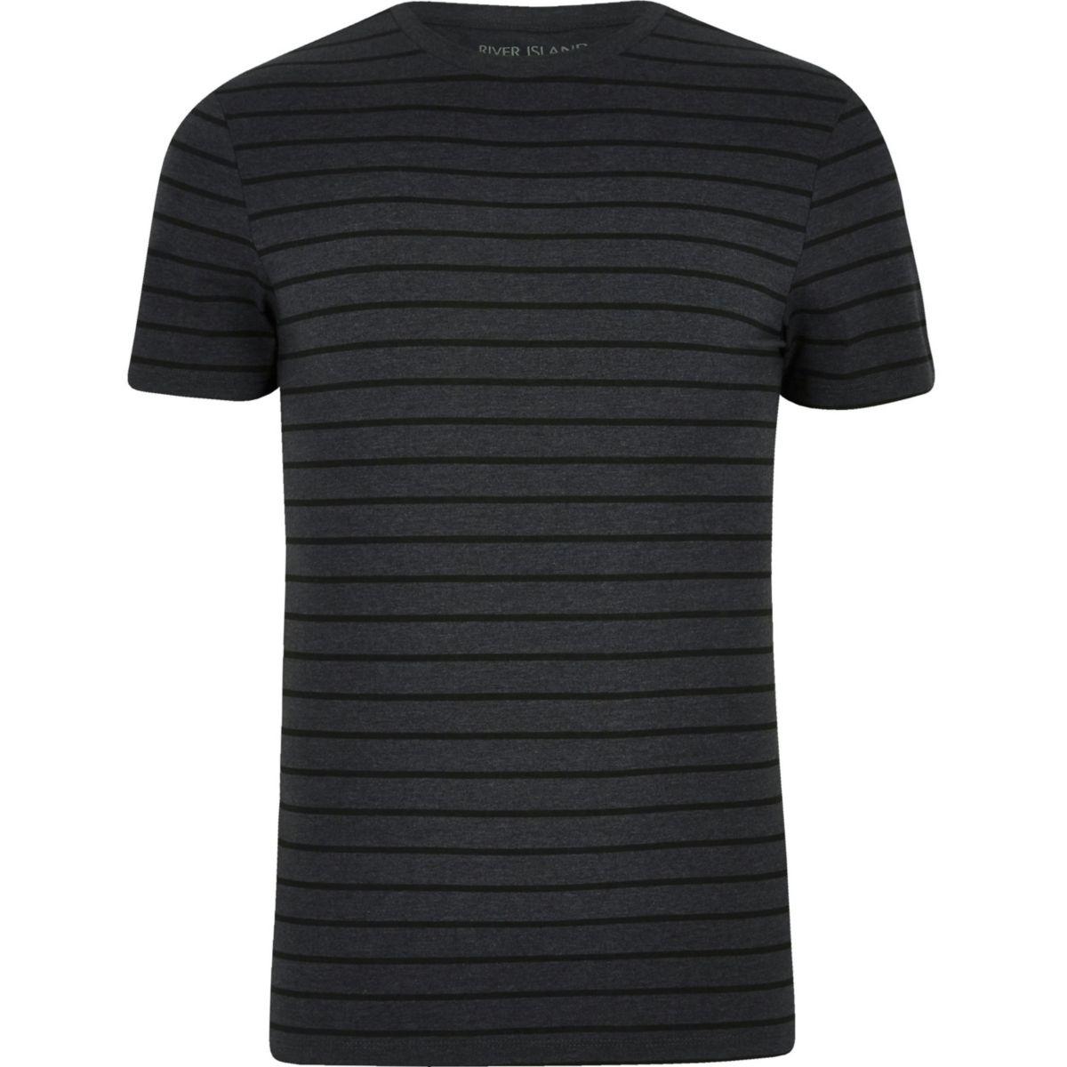 Dark grey stripe print muscle fit T-shirt