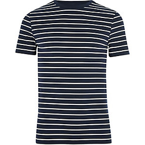 Navy stripe print muscle fit T-shirt