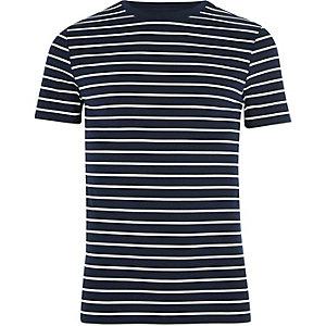 Marineblauw aansluitend T-shirt met strepenprint