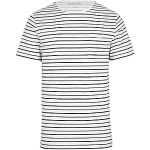 T-shirt en tissu flammé rayé grège slim