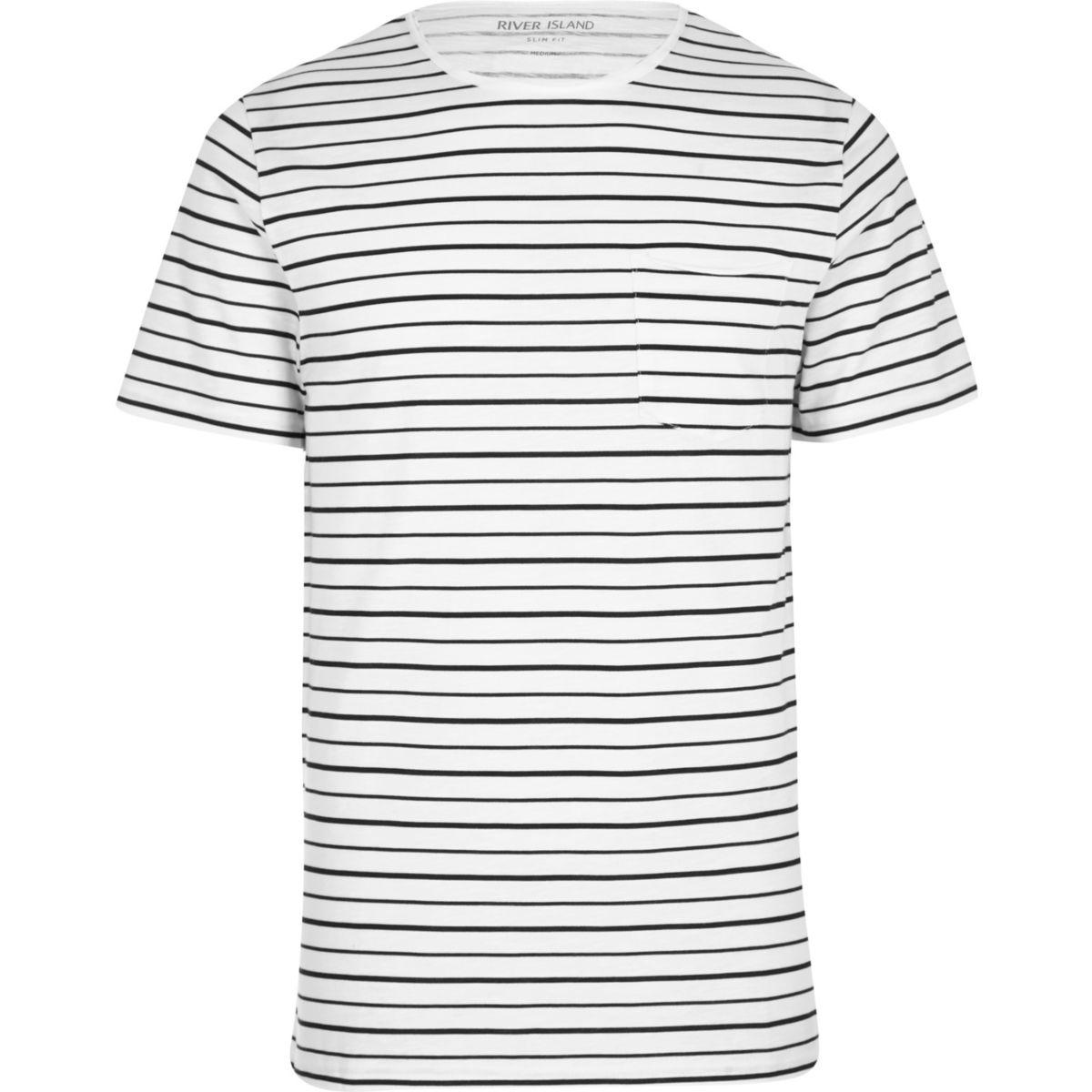 Stone slub stripe print slim fit T-shirt