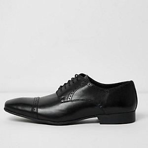 Black leather cap toe derby shoes